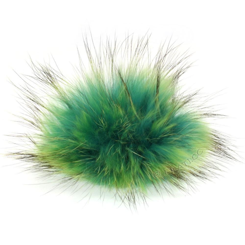 FELLPOMPON Finnraccoon Natur Color   503-Aqua/Neongrün