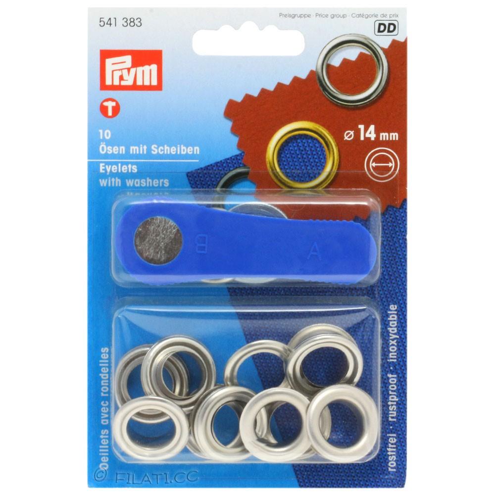 Ösen mit Scheiben 541383/14mm   383-Silber
