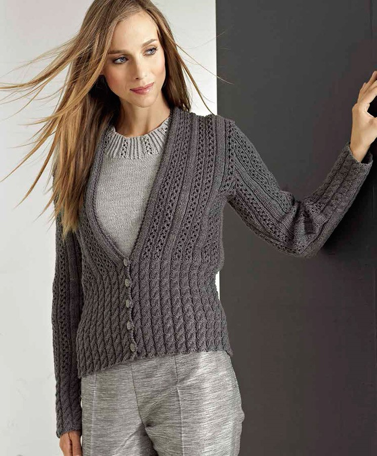 Lana Grossa PULLI MIT LOCH-RIPPENMUSTER Cool Wool