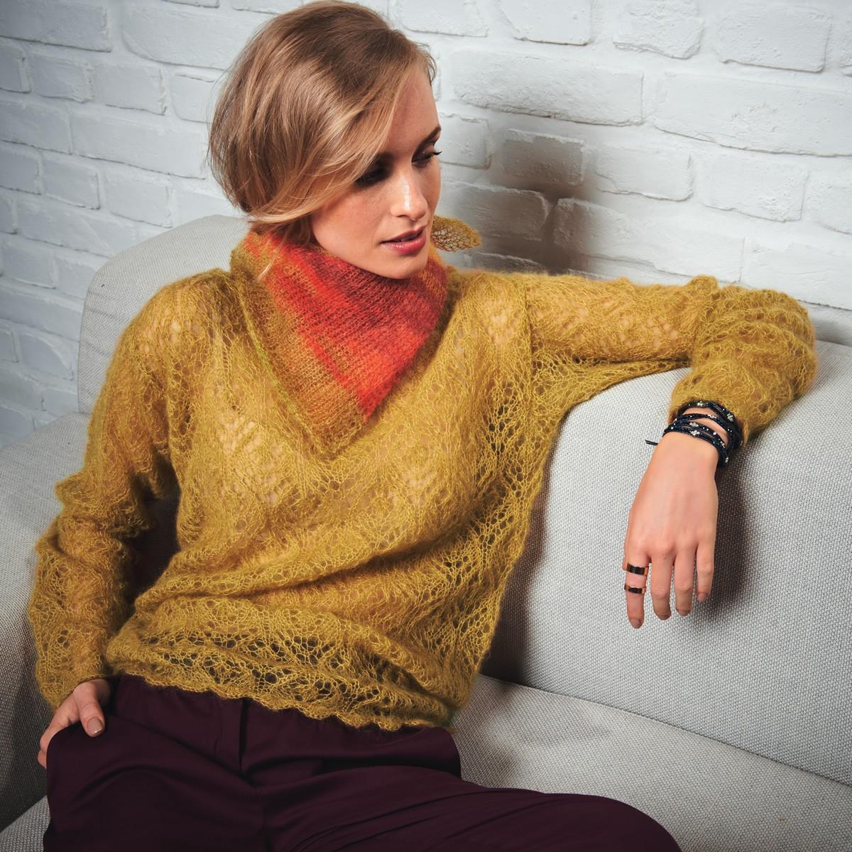 Lana Grossa TUCH MIT KRAUS-RECHTS-RAND Silkhair print