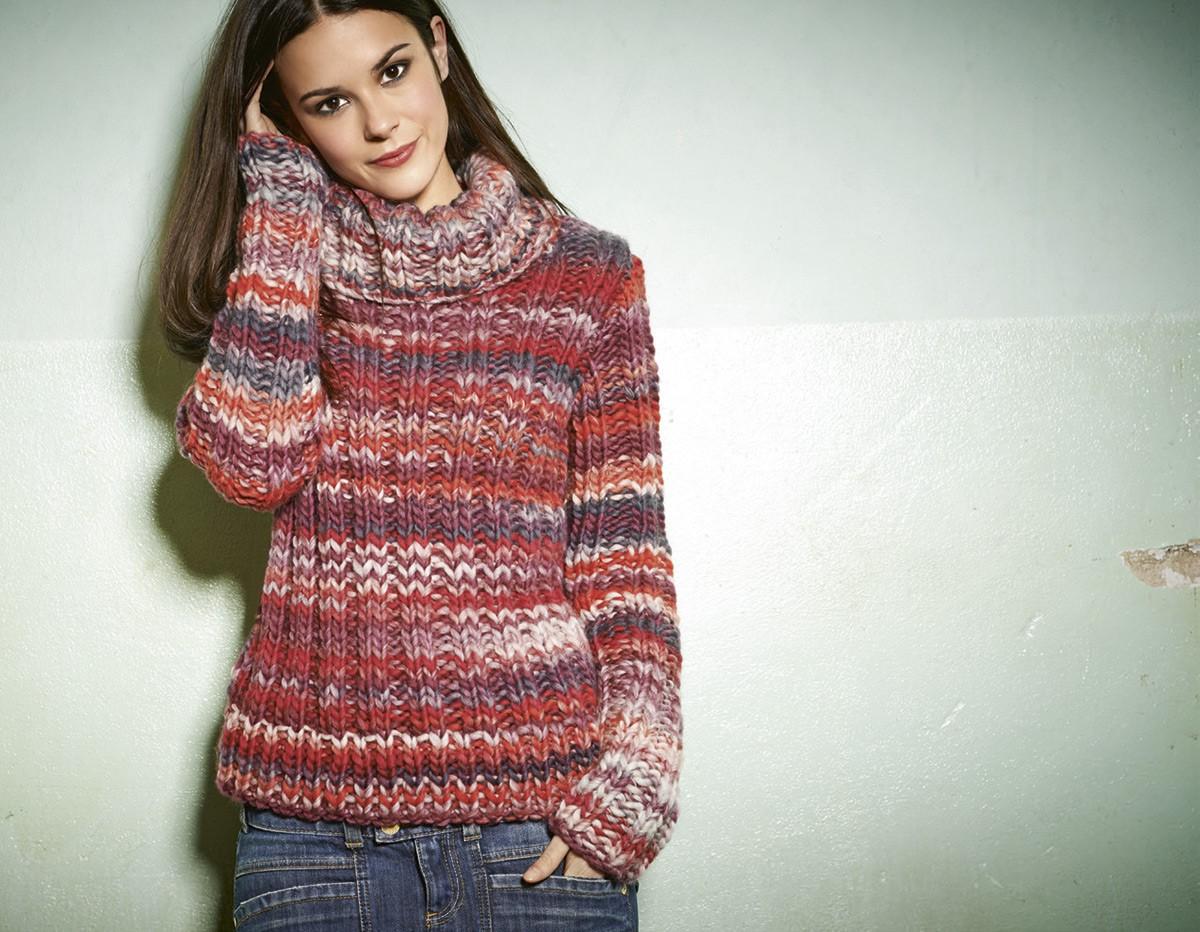 Lana Grossa ROLLKRAGENPULLI MIT ÜBERLANGEN ÄRMELN Lei Color Mix
