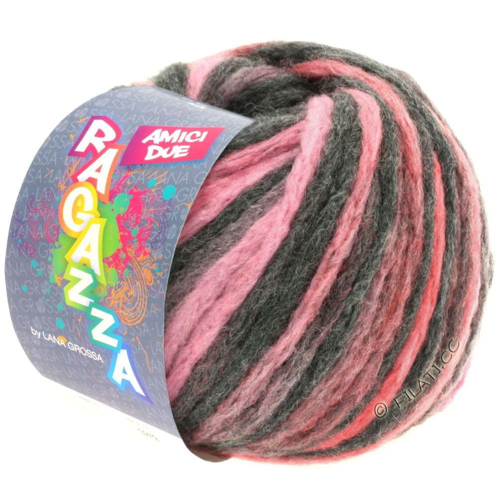 Lana Grossa AMICI DUE (Ragazza)   112-Anthrazit/Rosa/Pink