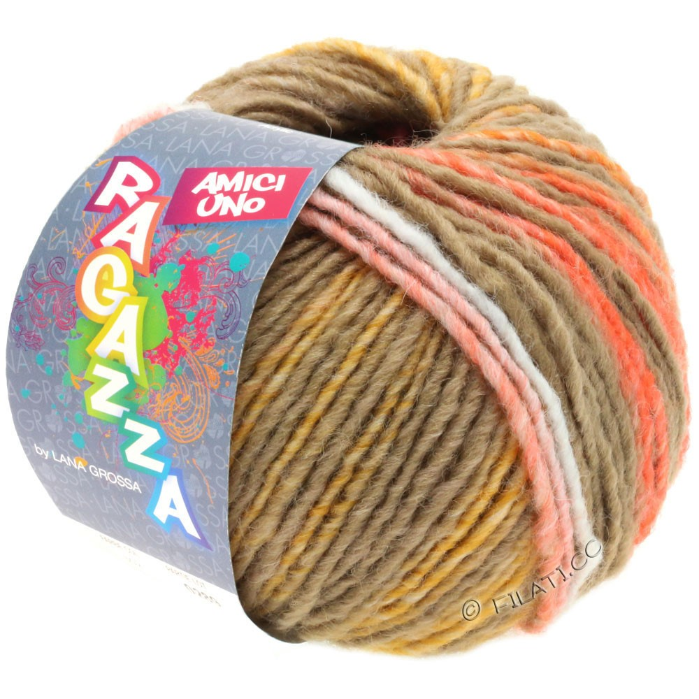 Lana Grossa AMICI UNO (Ragazza) | 315-Taupe/Orange/Himbeer/Senf