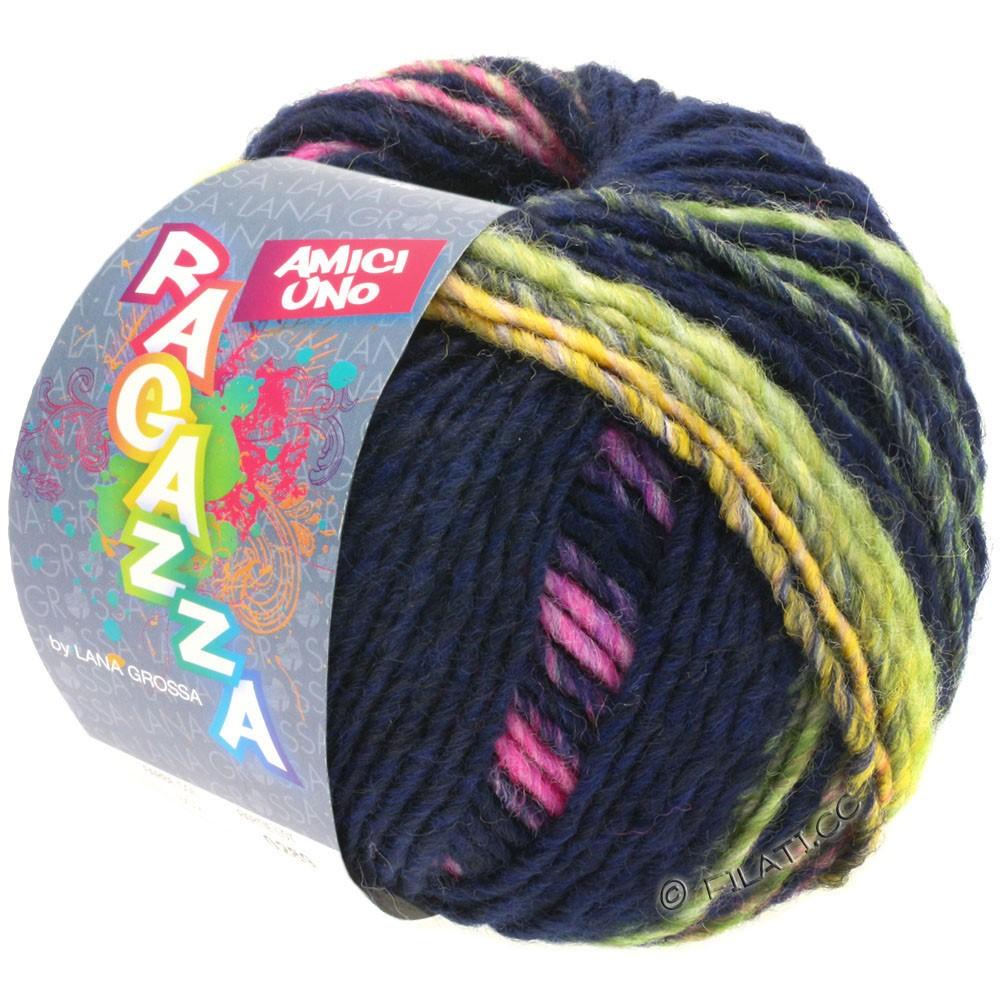Lana Grossa AMICI UNO (Ragazza) | 316-Nachtblau/Gelb/Pink/Lila/Hellgrün