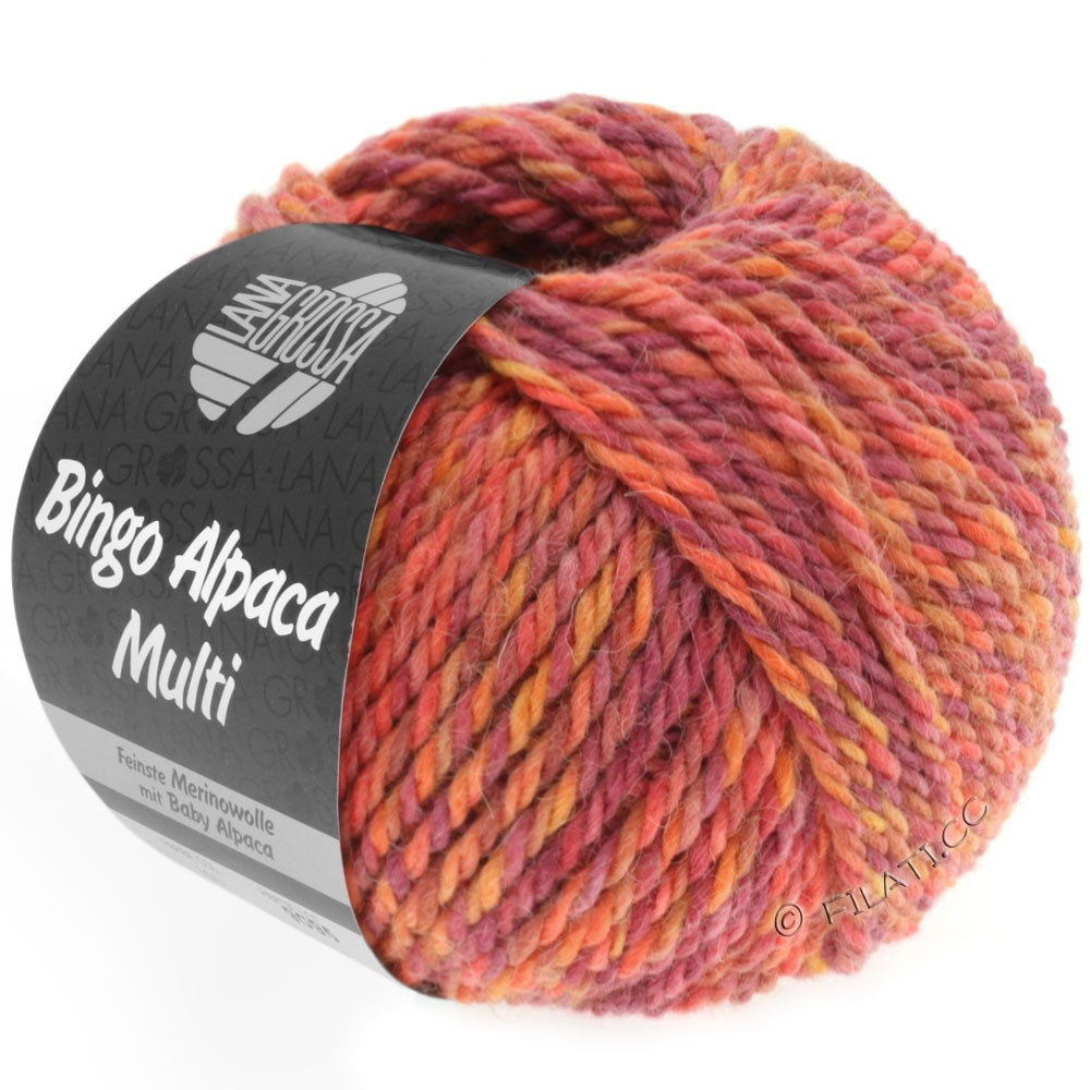 Lana Grossa BINGO ALPACA Multi | 104-Hellrot/Orange/Zyklam/Tomate