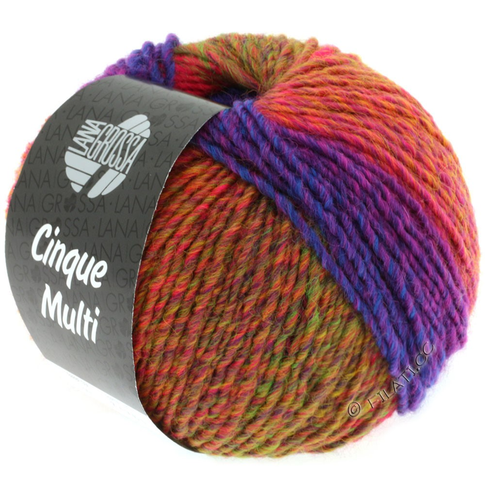 Lana Grossa CINQUE MULTI | 01-Rotviolett/Blau/Grün/Orange meliert