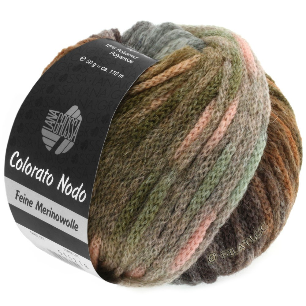 Lana Grossa COLORATO NODO | 107-Khaki/Nussbraun/Mint/Rosé/Graugrün