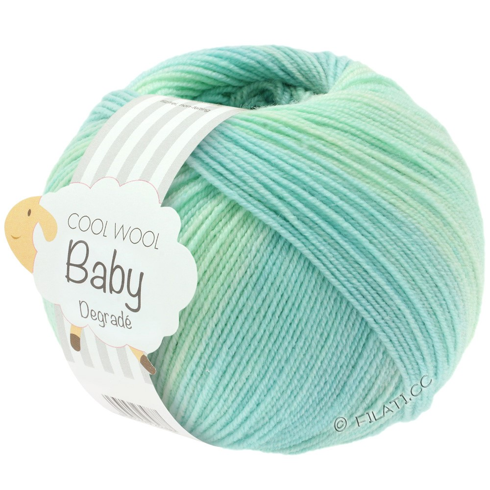 Lana Grossa COOL WOOL Baby Print/Degradé   502-Weißgrün/Pastelltürkis/Lichtgrün