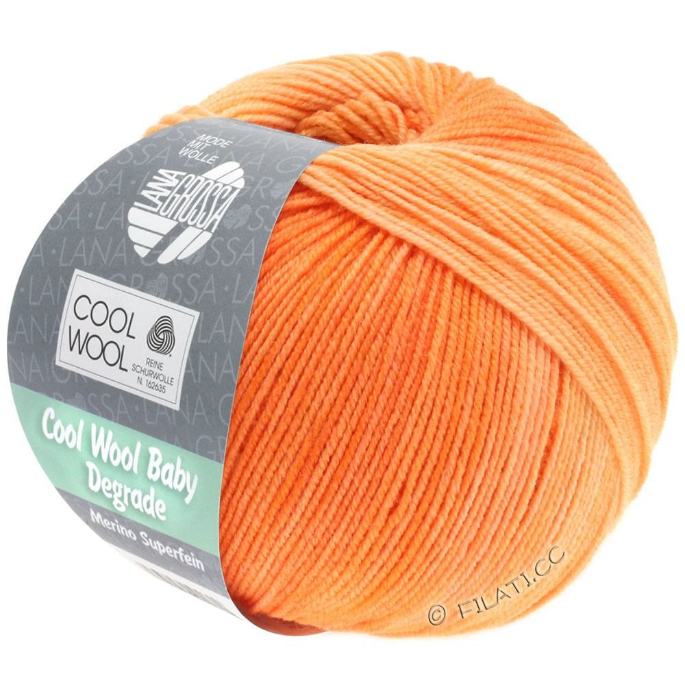 Lana Grossa COOL WOOL Baby Degradé | 505-Orange/Pfirsich/Zartorange/Apricot