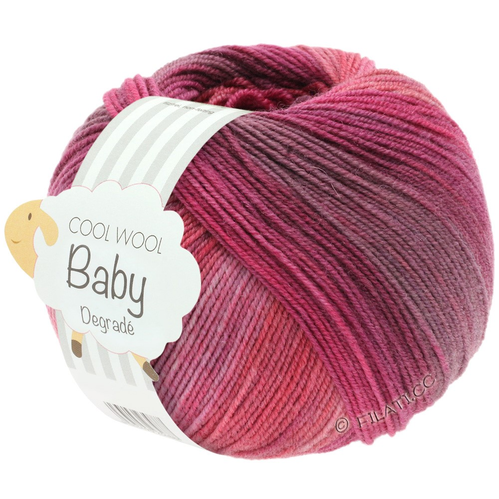 Lana Grossa COOL WOOL Baby Print/Degradé | 507-Beere/Antikviolett/Himbeer