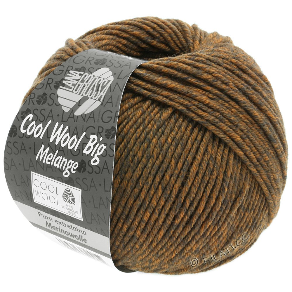 Lana Grossa COOL WOOL Big  Uni/Melange | 0338-Graubraun/Orange meliert