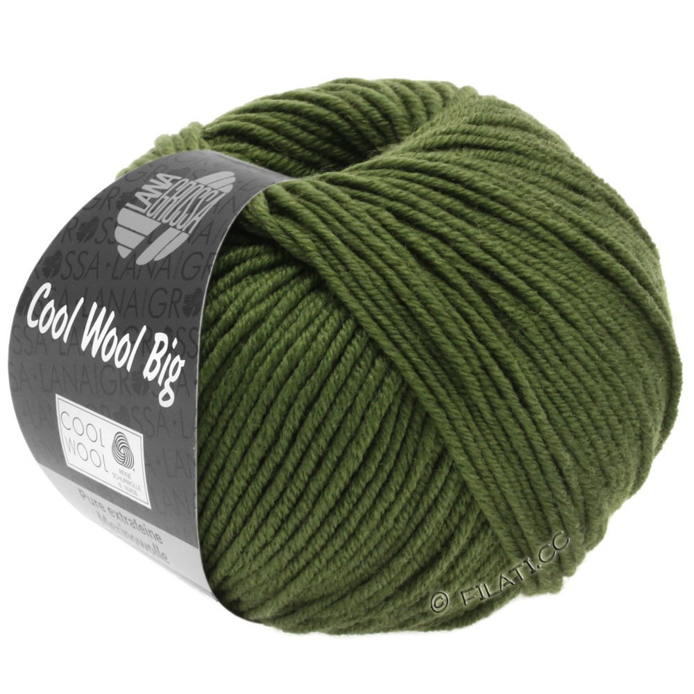 Lana Grossa COOL WOOL Big  Uni/Melange | 0956-Dunkeloliv