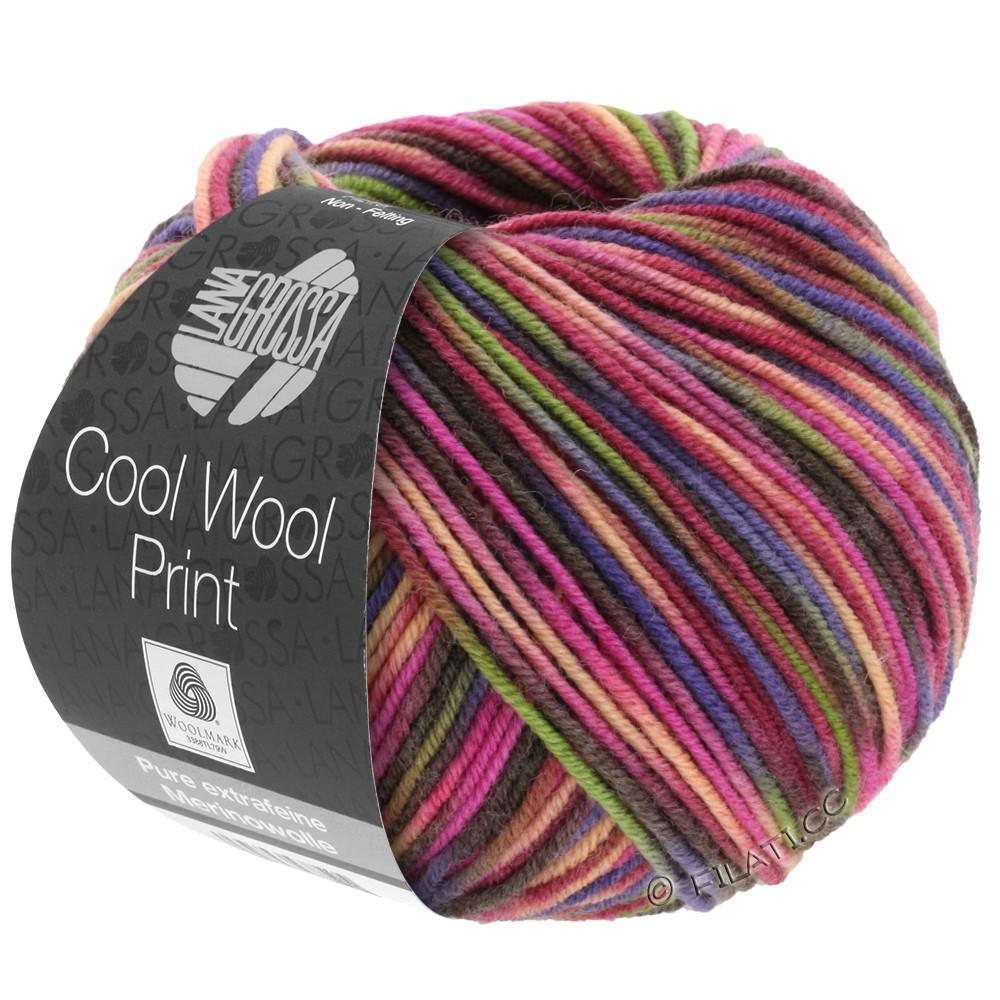 Lana Grossa COOL WOOL  Print | 749-Weinrot/Pink/Oliv/Blauviolett/Lachs/Mokka