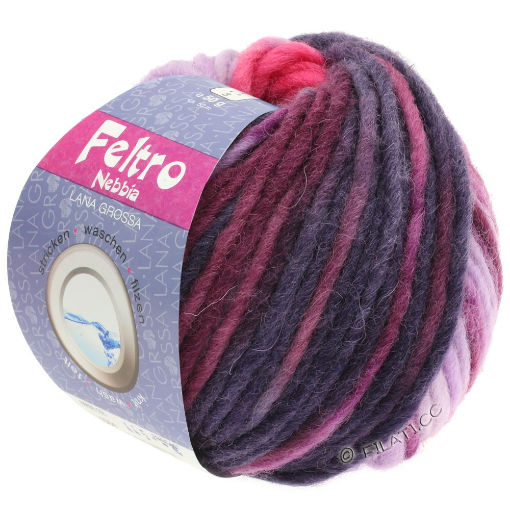 Lana Grossa FELTRO Nebbia   1502-Pink/Lila/Rotviolett/Aubergine/Jeans