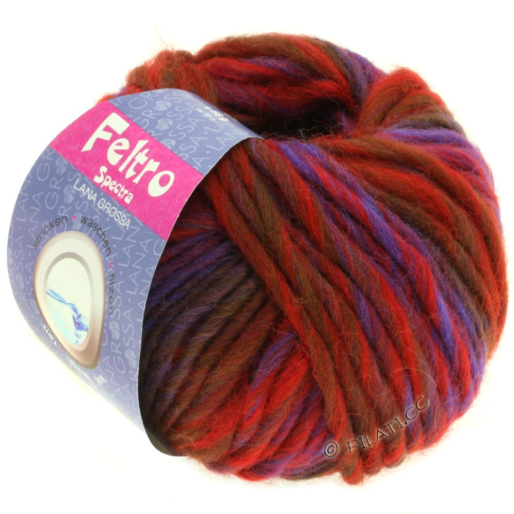 Lana Grossa FELTRO Spectra | 806-Rot/Blau/Violett/Schokobraun