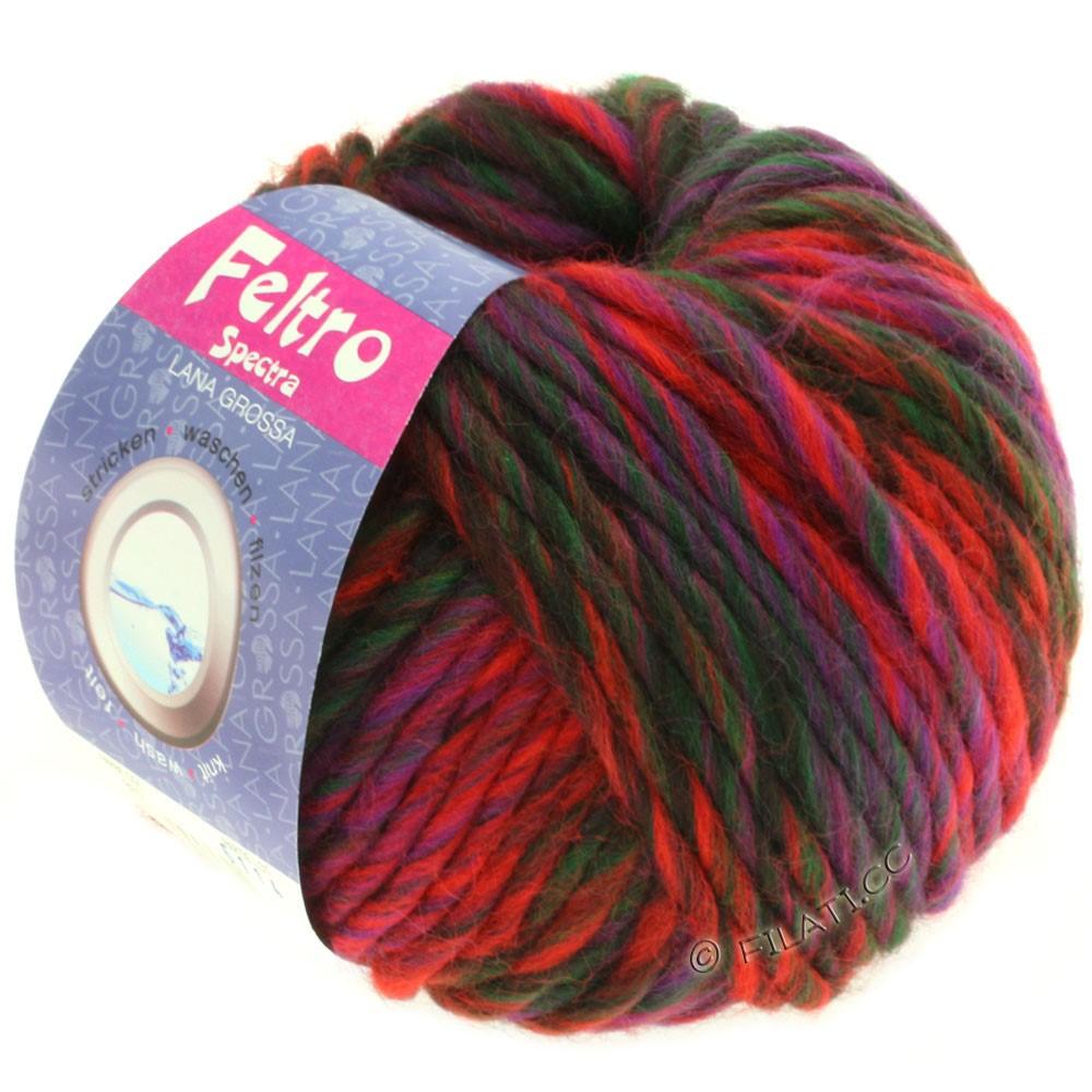 Lana Grossa FELTRO Spectra | 807-Rot/Violett/Flaschengrün/Schwarzbraun