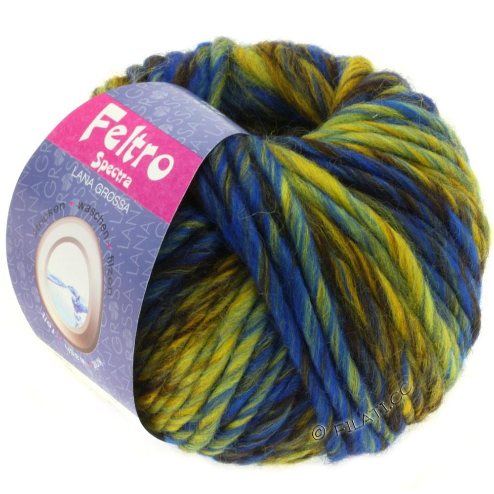 Lana Grossa FELTRO Spectra | 808-Gelb/Blau/Mokka