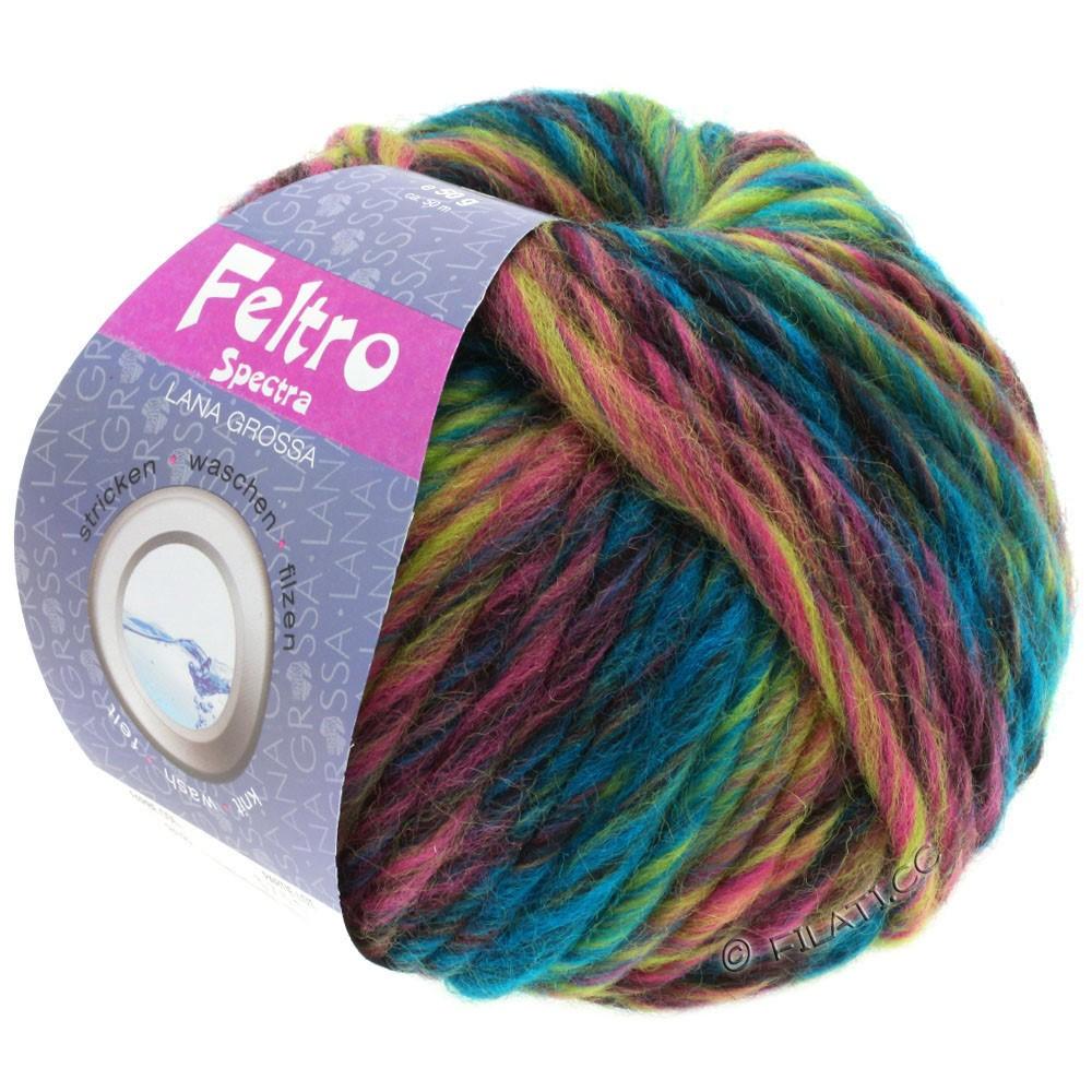 Lana Grossa FELTRO Spectra | 818-Petrol/Gelbgrün/Rosa/Pink/Burgund/Anthrazit