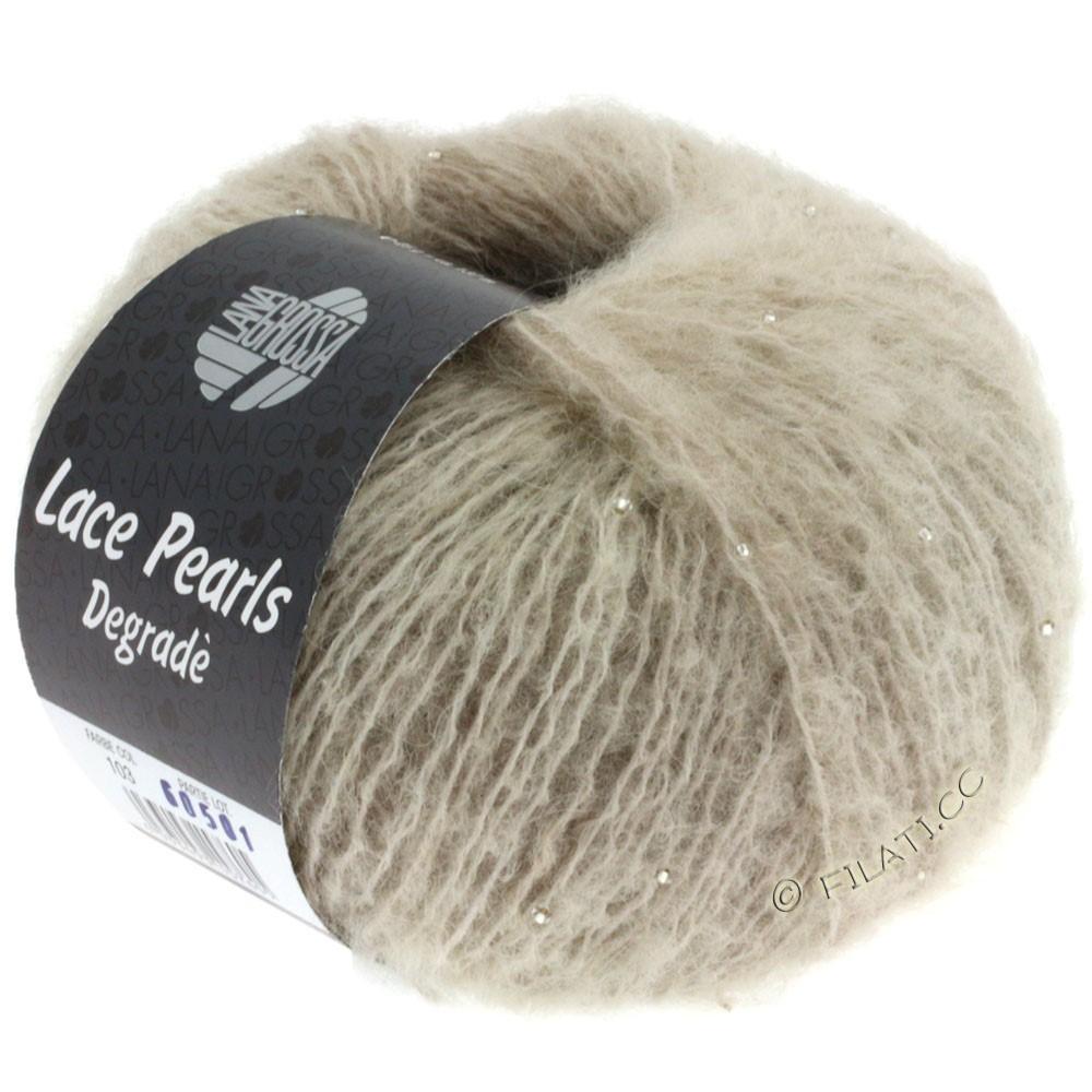 Lana Grossa LACE Pearls Uni/Degradè | 103-Rohweiß/Grège/Sand