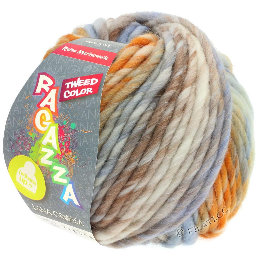 Lana Grossa LEI Tweed Color (Ragazza) | 404-Natur/Hellblau/Braun/Orange meliert