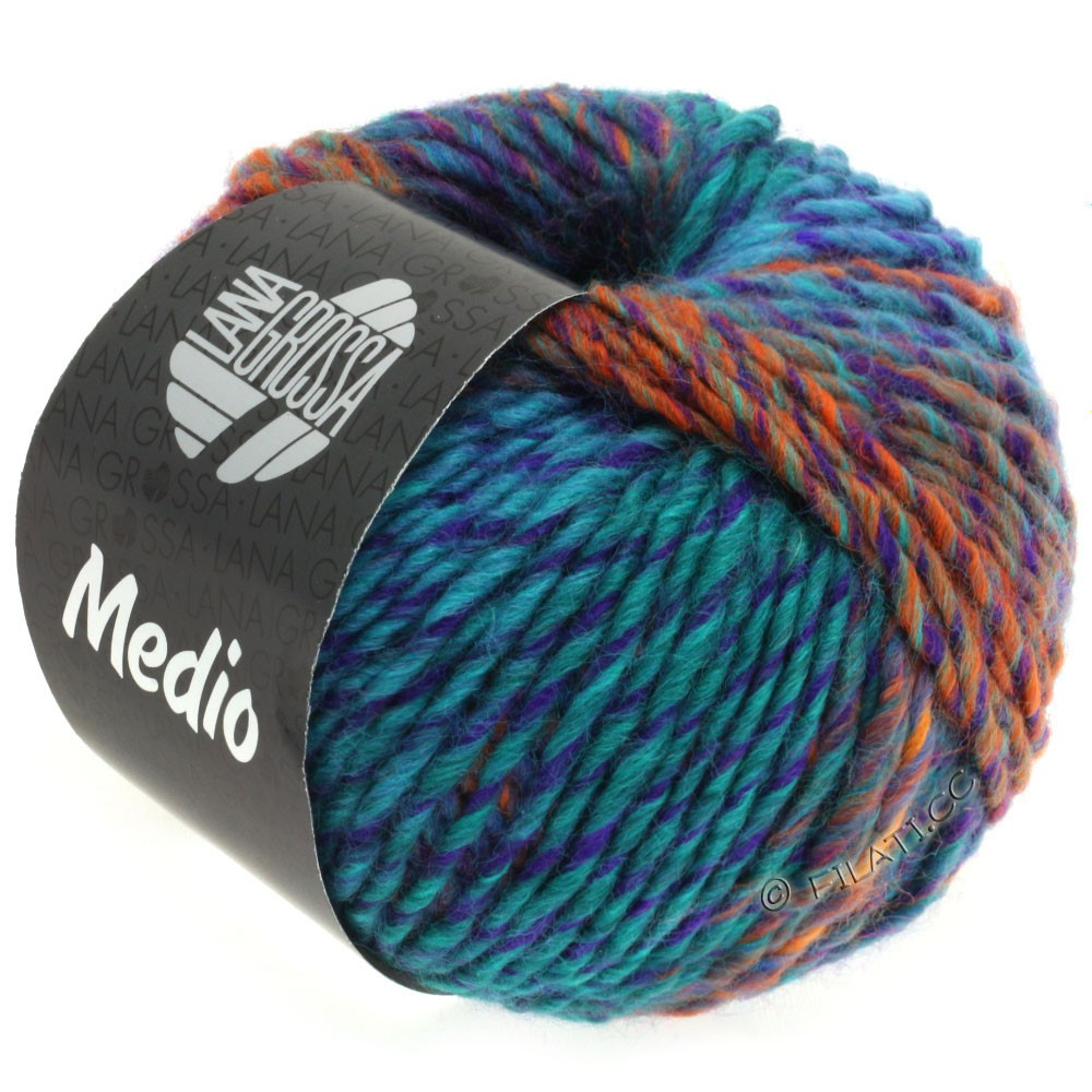 Lana Grossa MEDIO | 33-Nachtblau/Dunkelpetrol/Violett/Hellgrün/Orange/Blau