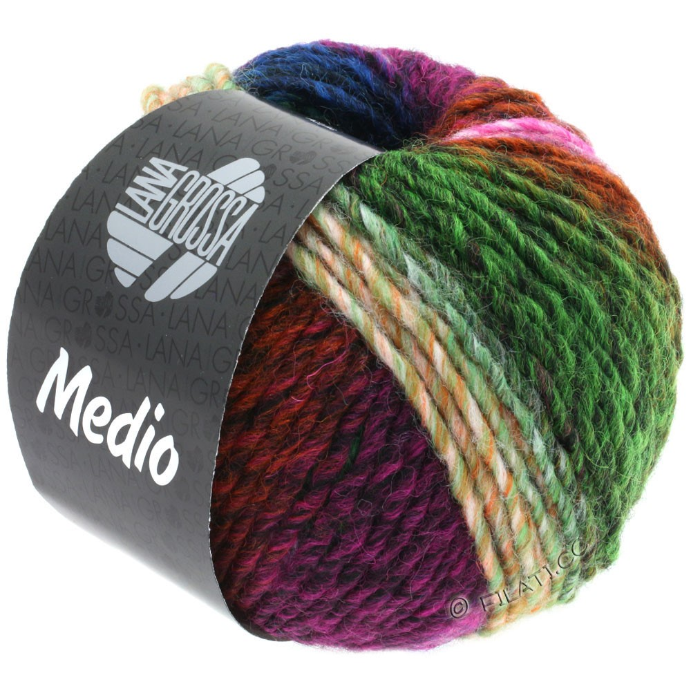 Lana Grossa MEDIO | 44-Zyklam/Rosa/Tanne/Rotbraun/Grün/Blau/Orange/Gelb/Petrol