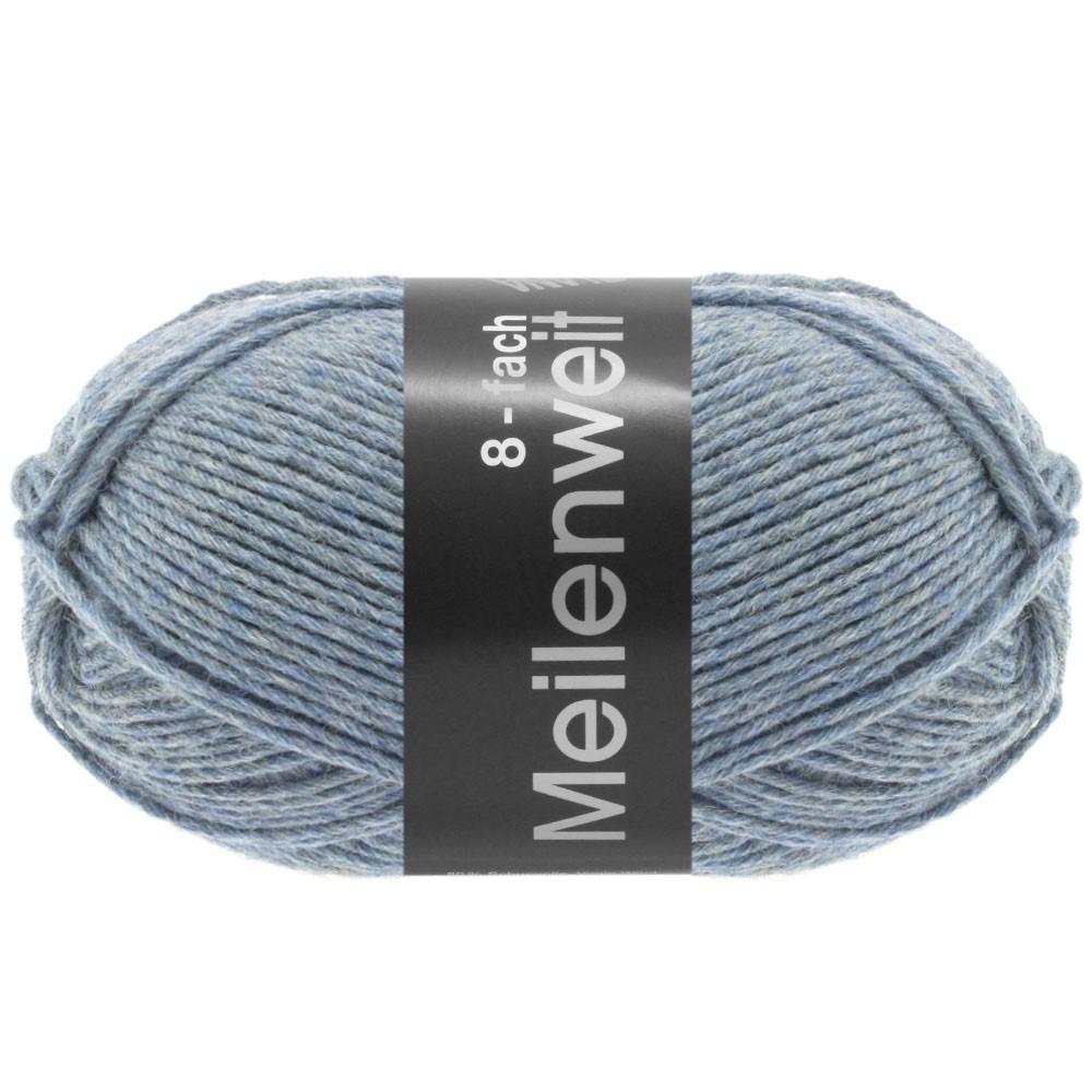 Lana Grossa MEILENWEIT 8-FACH 100g Uni | 9659-Graublau meliert