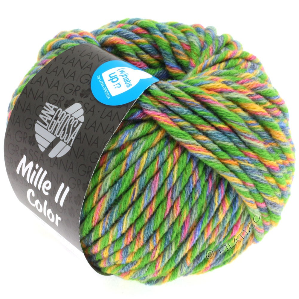 Lana Grossa MILLE II Color/Moulinè   803-Grün/Gelb/Rot/Jeans/Zartgrün meliert