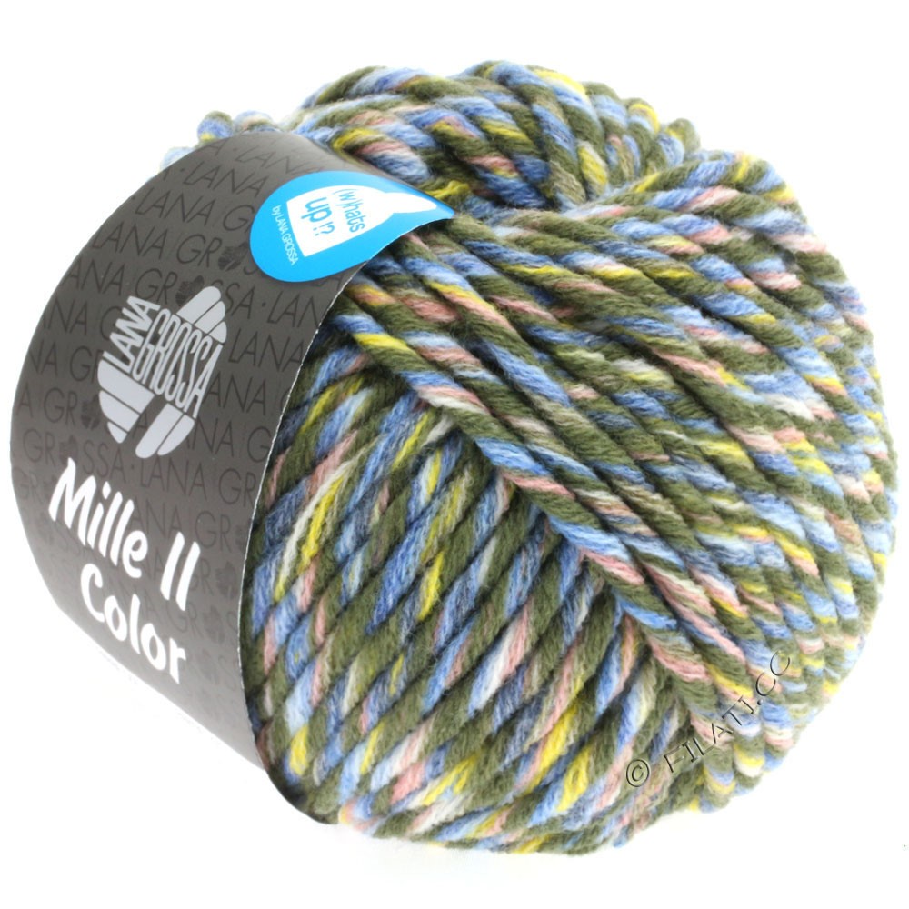 Lana Grossa MILLE II Color/Moulinè   807-Loden/Gelb/Rosa/Jeans/Hellblau meliert