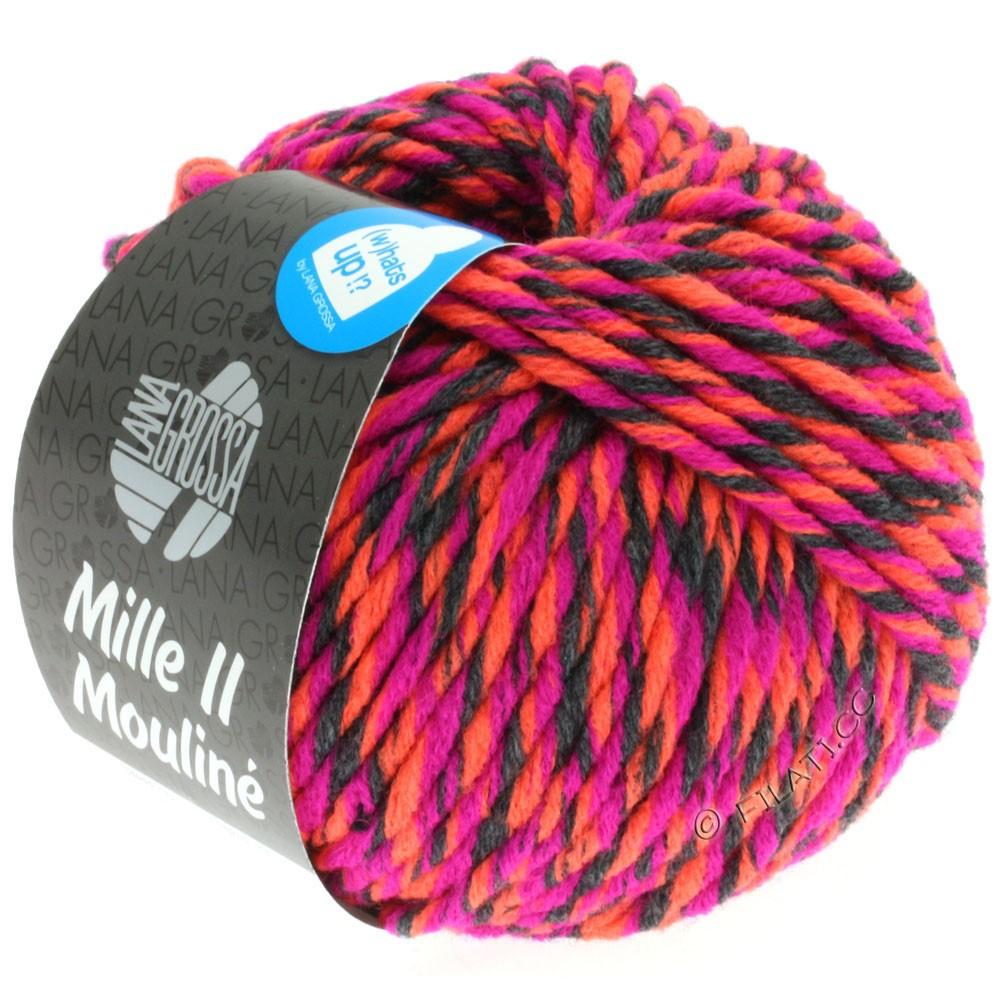 Lana Grossa MILLE II Color/Moulinè   601-Zyklam/Anthrazit/Neonorange