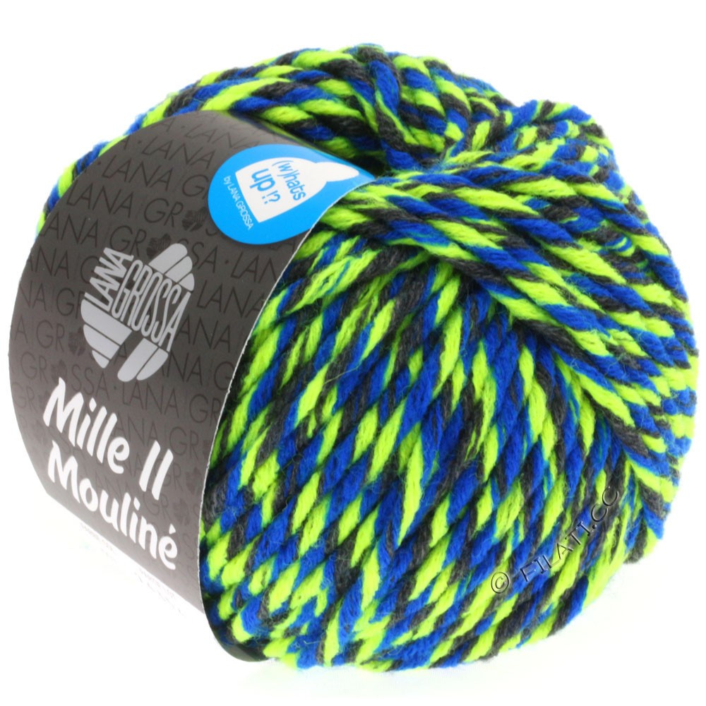 Lana Grossa MILLE II Color/Moulinè   603-Anthrazit/Neongelb/Blau