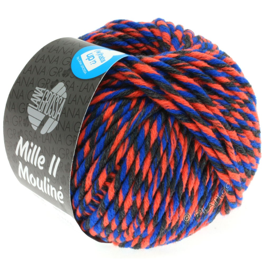 Lana Grossa MILLE II Color/Moulinè   604-Neonorange/Anthrazit/Blau