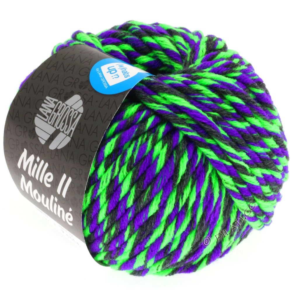 Lana Grossa MILLE II Color/Moulinè   605-Neongrün/Violett/Anthrazit