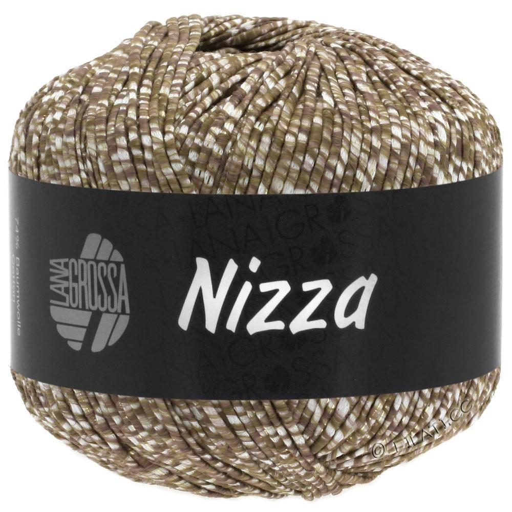 Lana Grossa NIZZA | 10-Weiß/Graubraun/Gold