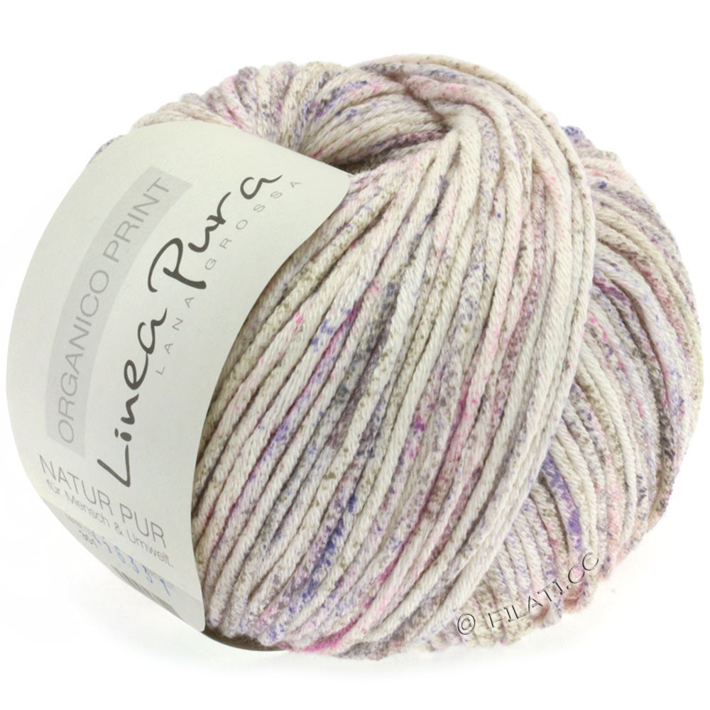 Lana Grossa ORGANICO Print (Linea Pura) | 351-Natur/Pink/Lavendel/Graubraun