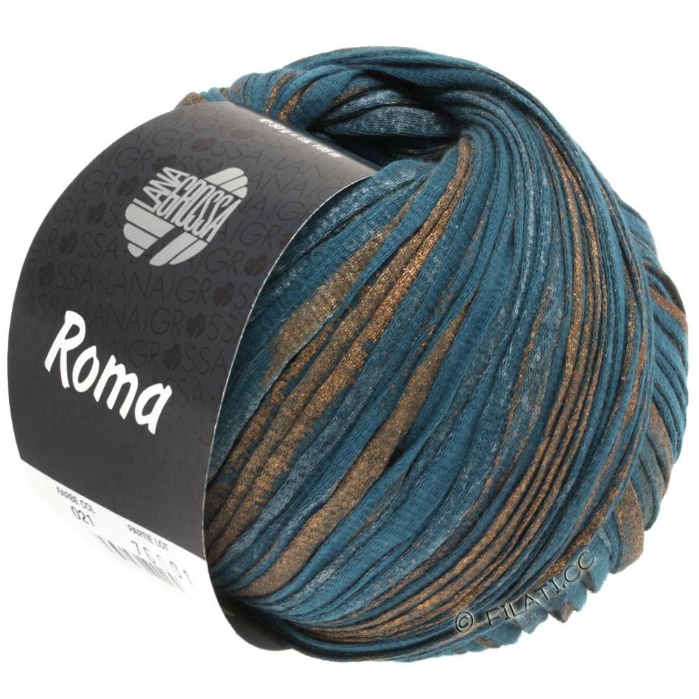 Lana Grossa ROMA | 021-Petrolblau/Kupfer/Silber
