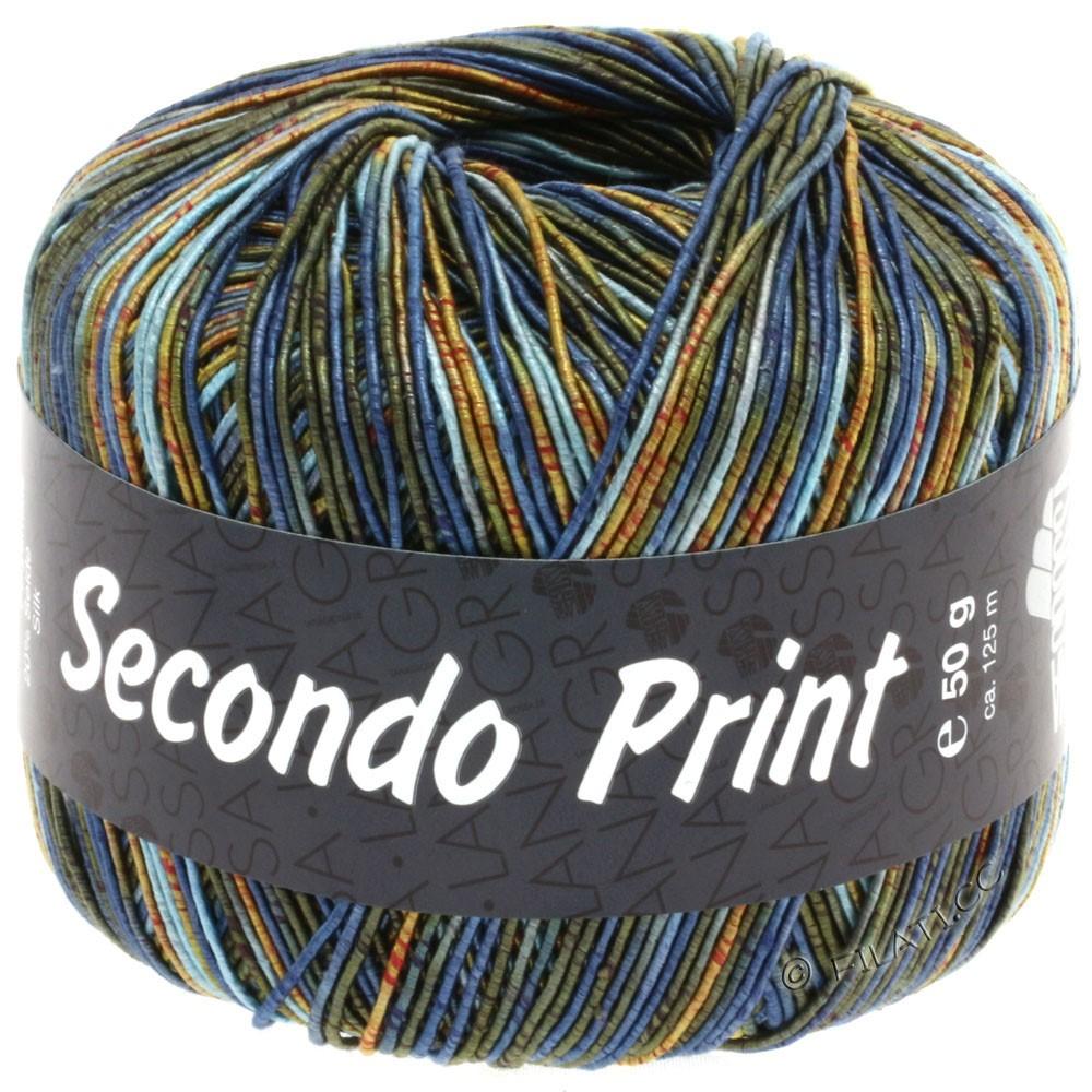 Lana Grossa SECONDO Print II | 504-Hellblau/Jeans/Orange/Dunkeloliv/Gold