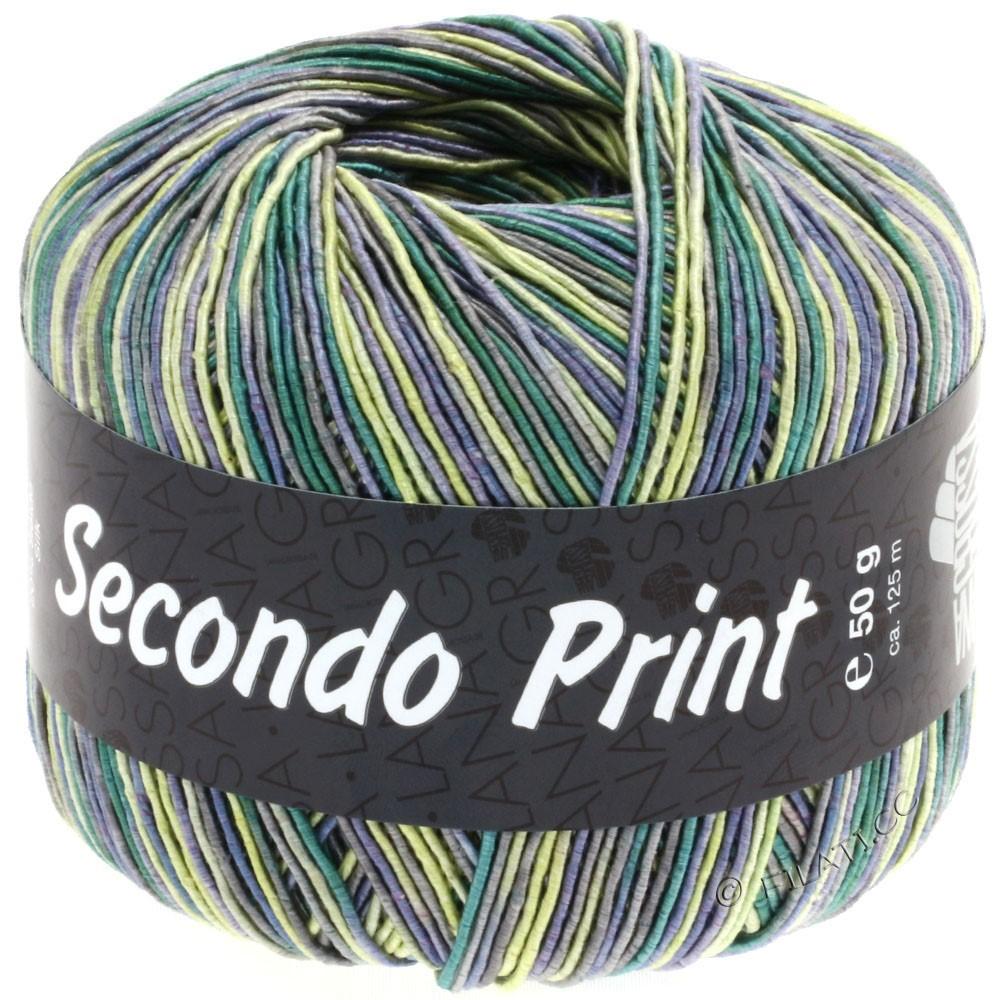 Lana Grossa SECONDO Print II | 506-Jeans/Gelb/Smaragd/Dunkelgrau