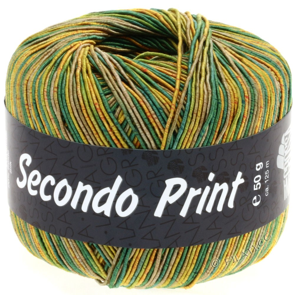 Lana Grossa SECONDO Print II | 508-Goldgelb/Grün/Schilf/Oliv