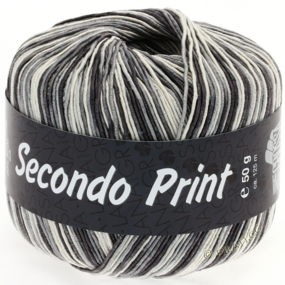 Lana Grossa SECONDO Print II | 510-Ecru/Grau/Anthrazit