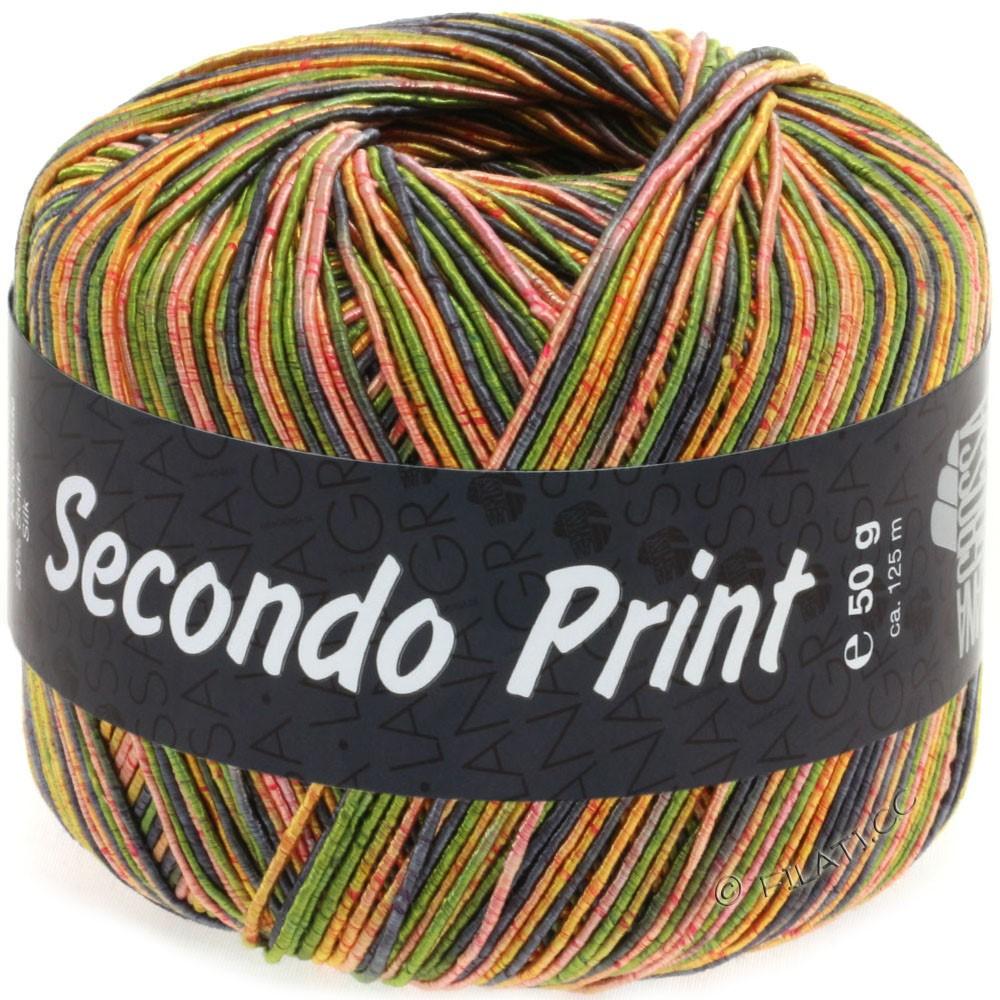 Lana Grossa SECONDO Print II | 513-Oliv/Graublau/Orange/Goldgelb