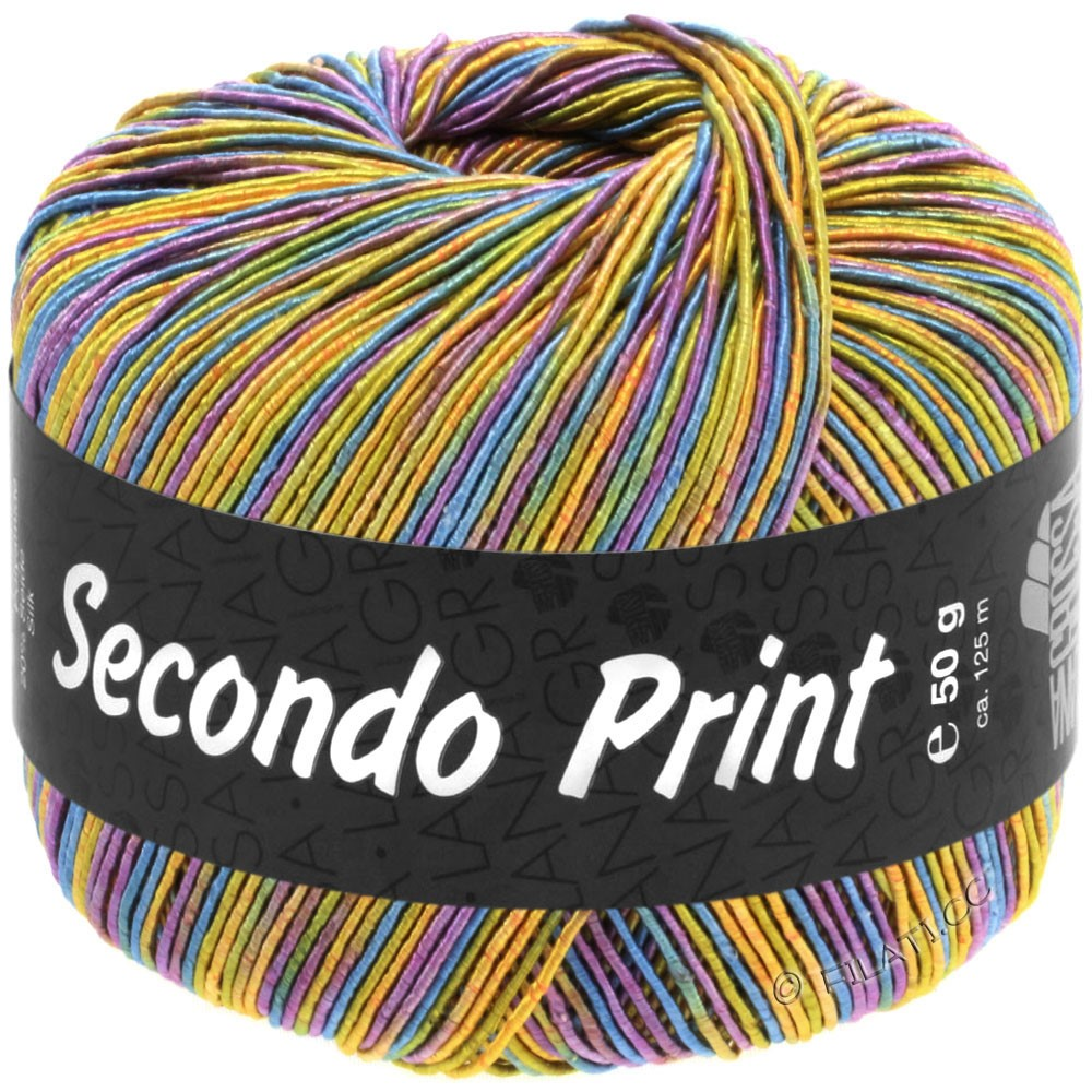 Lana Grossa SECONDO Print II | 518-Apricot/Goldgelb/Türkisblau/Violett