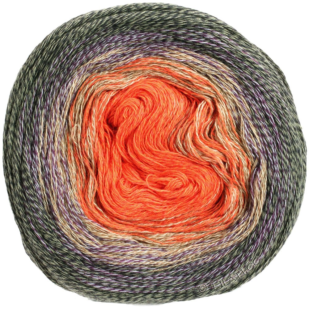 Lana Grossa SHADES OF MERINO COTTON   413-Orange/Beige/Aubergine/Dunkelgrau