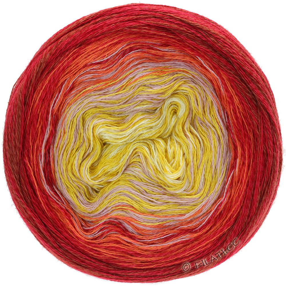Lana Grossa SHADES OF MERINO COTTON   607-Vanille/Maisgelb/Altrosa/Orange/Rot