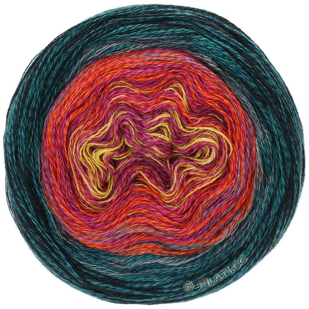 Lana Grossa SHADES OF MERINO COTTON   608-Gelb/Pink/Tomatenrot/Stahlblau/Schwarz