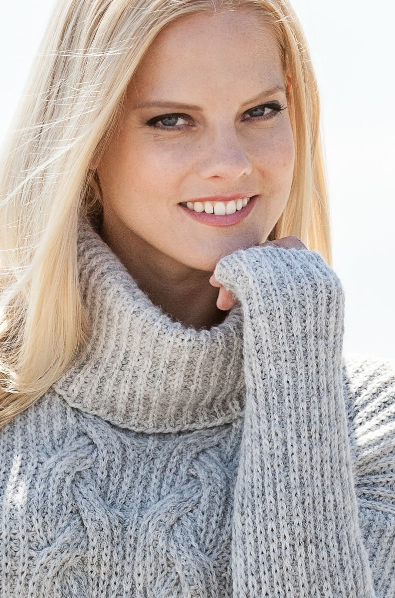 Lana Grossa PATENT-PULLI MIT ZOPFMUSTER AM Superbaby Fine