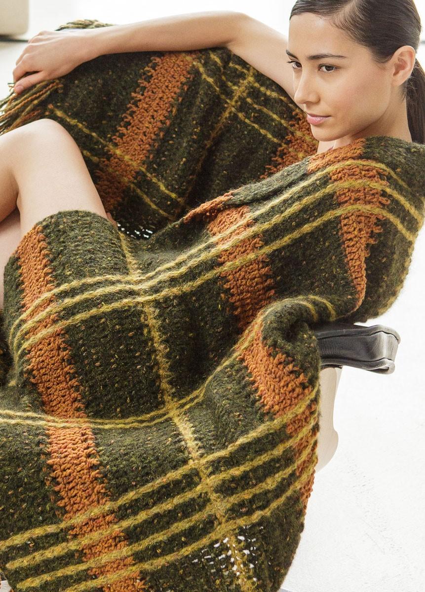 Lana Grossa STREIFENDECKE IN HÄKEL-MASCHEN Fluffy/Royal Tweed