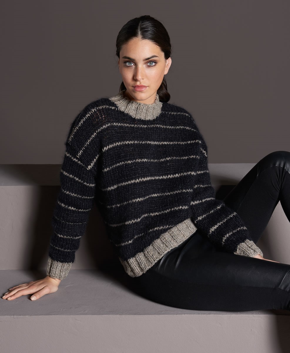 Lana Grossa STREIFENPULLI GLATT RECHTS Alta Moda Alpaca/Splendid/Silkhair