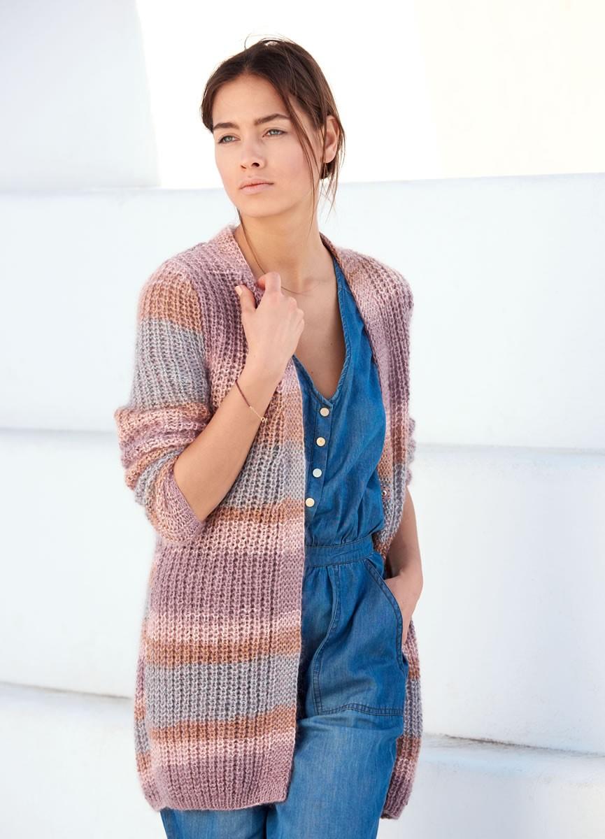 Lana Grossa CARDIGAN IM HALBPATENTMUSTER Linarte Color/Silkhair