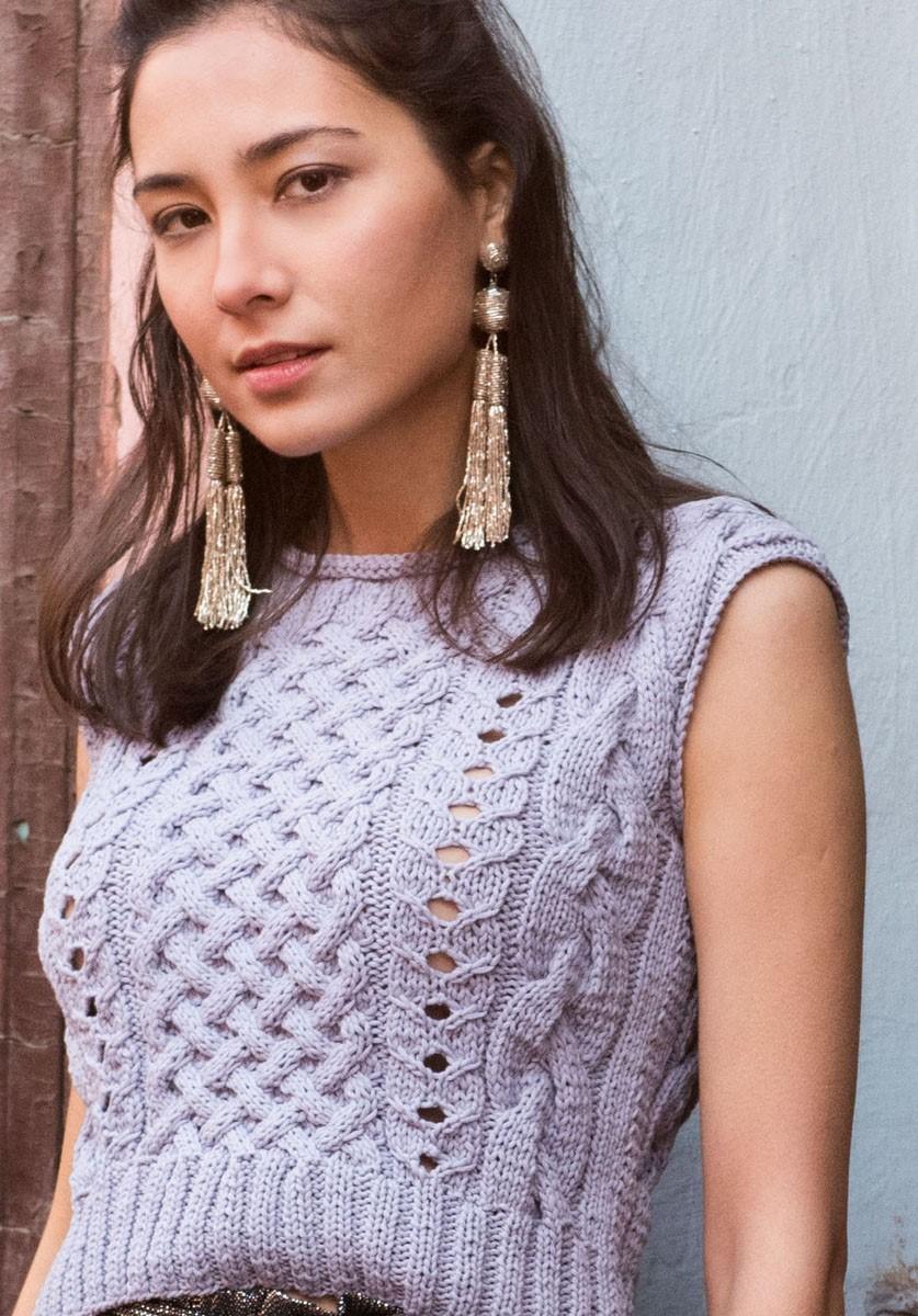 Lana Grossa TOP MIT ZOPF-, GITTER- UND LOCHMUSTER Only Cotton